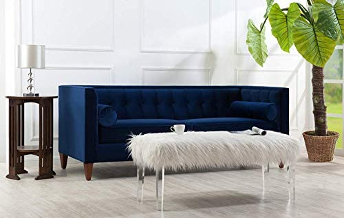 "Jennifer Taylor Home Jack 84"" Tufted Tuxedo Sofa Double Cushion Navy Blue"