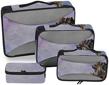 トラベル ポーチ 旅行用 収納ケース 4点セット トラベルポーチセット アレンジケース スーツケース整理 恐竜柄 収納ポーチ 大容量 軽量 衣類 トイレタリーバッグ インナーバッグ