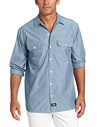 Dickies Men's Long Sleeve Shirt, Blue Chambray, Small