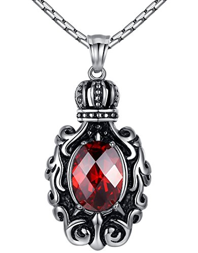 Aoiy Men's Stainless Steel Crown Jewel Pendant Necklace, Red, 23