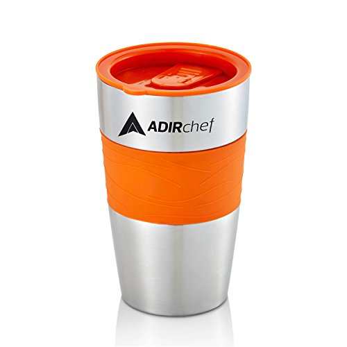 AdirChef Travel Mug 15 Oz - Insulated BPA Free Stainless Steel Vacuum Tumbler w/Spill Proof Slide Lid for Hot/Cold Drinks Great for Outdoor, Driving, Home or Office Use (Orange)
