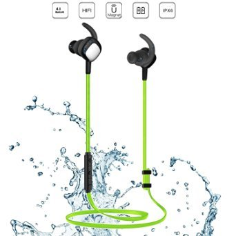 Bluetooth Headphones,Eonfine V4.1 Wireless Bluetooth Headset, Noise Cancelling Waterproof Sports Stereo Earphones Earbuds with APT-X/Mic for iPhone 6/6S Plus Galaxy S7 Edge Green