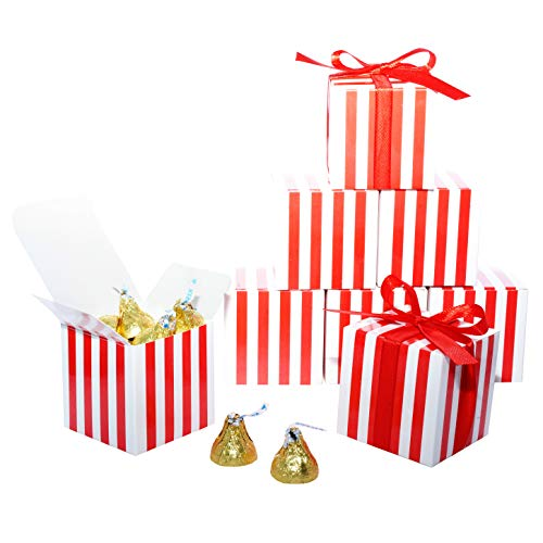 Red Striped Wedding Party Favors Boxes - Small Birthday Candy Treat Gift Boxes Bulk Carnival Baby Shower Bachelorette Party Boxes Supplies, 50pc
