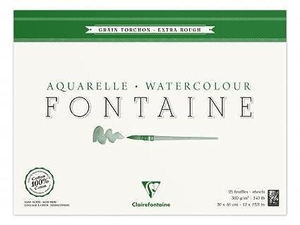 Bloc encollé de 25 feuilles de papier aquarelle Fontaine grain torchon, 300 g/m², 30x40 - Lot de 2 300 g/m² Clairefontaine