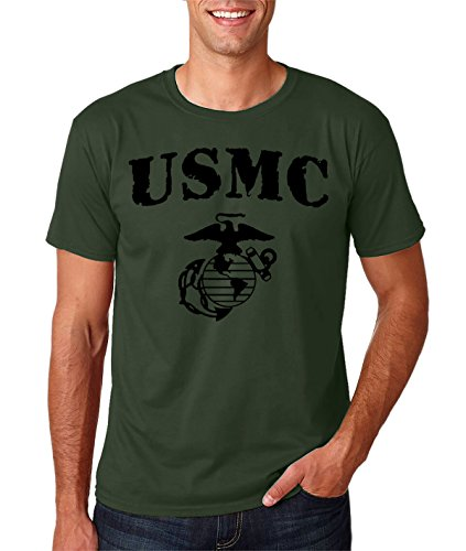Funnwear USMC Bull Dog - THE FEW THE PROUD THE MARINES - Marine Corps Premium Men's T-Shirt (Large, Military Green) Marines Mens Tee