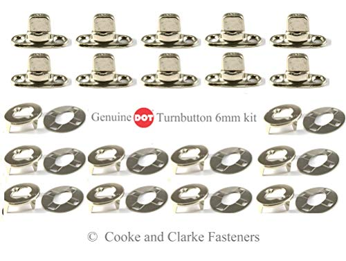 Turnbutton 6mm Fastener Cloth to Deck kit Eyelet, Bases, Studs for Boat Canopy Canvas Cover Twist Fastener