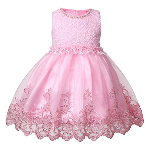 Cromoncent Girls' Lace Sleeveless Halloween Tutu Party Fashion Princess Dress Pink 6T -