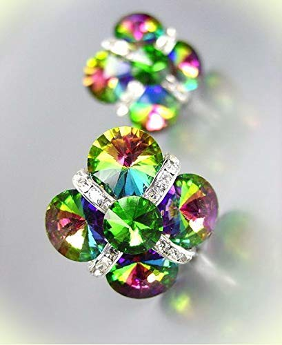 GLITZY Mystic Fire Topaz Czech Crystals Bridal Prom Pageant Queen CLIP Earrings For Women Set