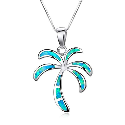 - Pophylis Silver Palm Tree Necklace - Delicate Solid Sterling Blue Created Opal Inlay Hawaiian Beach Pendant