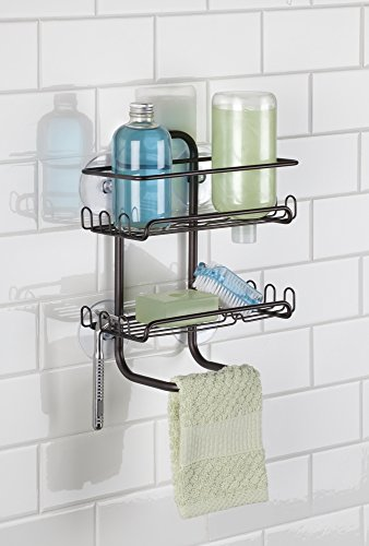 mDesign Suction Bathroom Shower Caddy, Storage for Shampoo, Conditioner, Soap - Bronze
