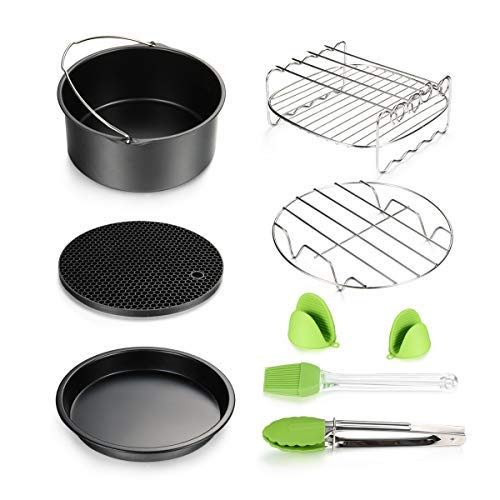 Air Fryer Accessories 8pcs for Gowise Phillips Cozyna Ninja Deep Fryer Accessories Set with Cake Barrel, Pizza Pan, Metal Holder, Skewer Rack, Silicone Mat, Silicone Brush, Food Tong, Oil Brush
