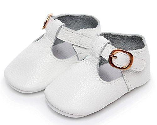 (Bebila T-Strap Infant Moccasins for Girls Buckle Soft Baby Boy Shoes Genuine Leather Mary Janes Golden(5M/12CM/4.72