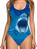 TUONROAD Graphic Prints Sexy One Piece Control Swimsuit Shark Funny Hot Inspired Lightweight Big Size Swimwear Monokini Bathing Suit with High Cut Low Back Beach Wear Bodysuit for Female Women
