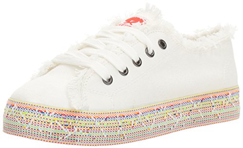 Rocket Dog Women's Madox Canvas Cotton/Rainbow Road Webbing Fashion Sneaker, White, 9 M US