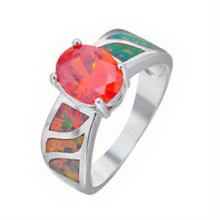 jacob alex ring 9*7mm Opal Ring Size 6 Red Garnet 925 Sterling Silver Women's Engagement