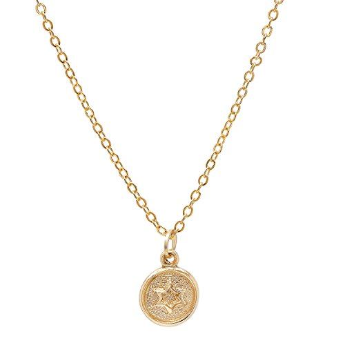 - Pori Jewelers 14K Yellow Gold Small Circle Disc Star of David Pendant in 14K Gold cable chain necklace -18