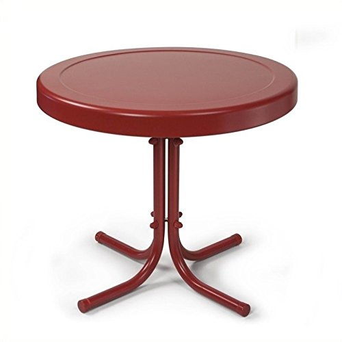 Cheap  Crosley Furniture Gracie Retro 20-inch Metal Outdoor Side Table - Coral Red