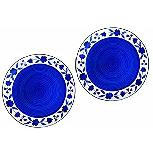 ANK Home Craft Handmade Hand Painted Ceramic Dinner Plate Blue & White Set of 2 (10.3 inch) Microwave Safe.