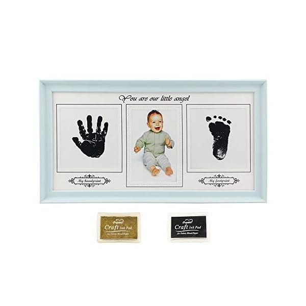 Newborn Baby Handprint Footprint Photos Keepsake Frame Kit – New Baby Boy/Girl Shower Gift for Registry, Room Nursery Wall or Desk Decor, Blue