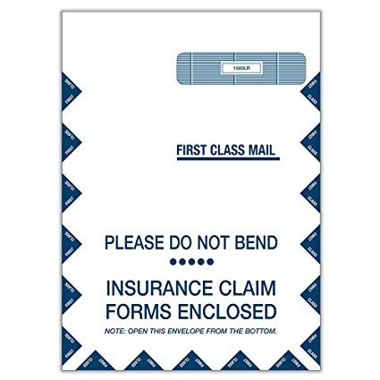 Large Security Envelopes, for Insurance Claim HCFA-1508, CMS-1500 Forms, Self-Seal Closure~Right Window Envelope~ 9 x 13