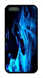 Blue Flames Custom iPhone 5s/5 Case Cover ¡§C TPU ¡§CBlack