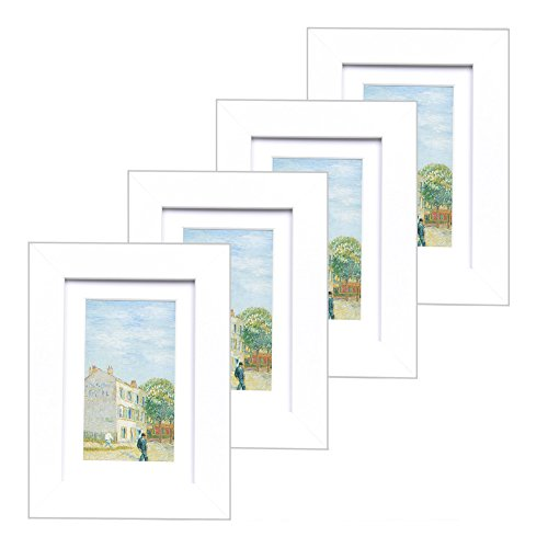 4x6 Wood Picture Frame - Flat Profile - Set of 4 - for Picture 3x5 with Mat or 4x6 without Mat (White)