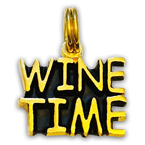 - Wine Time, Necklace - Yellow Gold Plated Sterling Silver Pendant Charm Jewelry