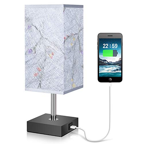 (USB Table Lamp, Ambimall Bedside Lamp with USB Charging Port and Pull Chain Silk Gray Fabric Shade Nightstand Lamp Perfect for Bedroom, Living Room, Office,Study Room)