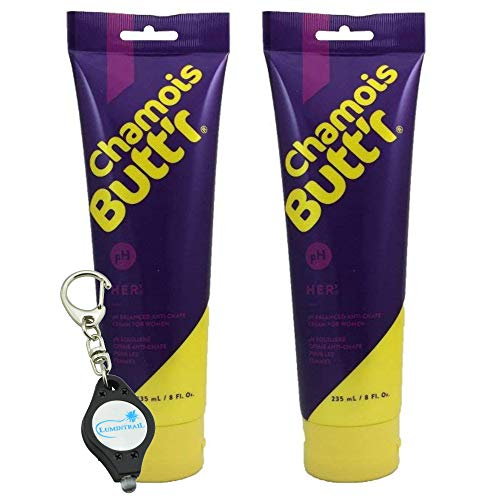 - Chamois Butt'r Her' Anti-Chafe Cream for Women - 2 Pack Bundle with a Lumintrail Keychain Light