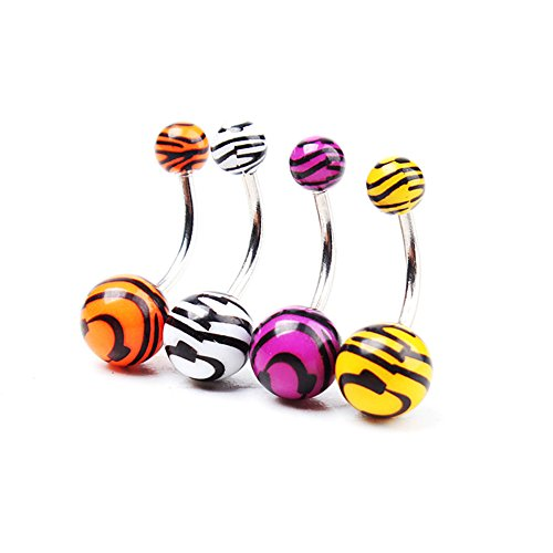 1 Pc Stainless Zebra Animal Print Navel Belly Button Barbell Ring Body Piercing Random Color