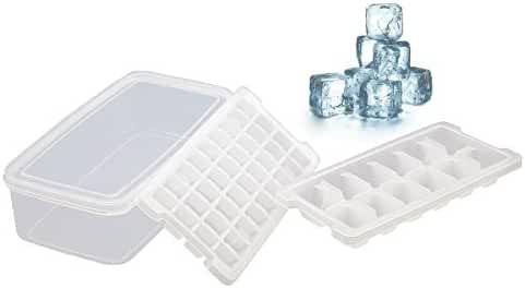Ice Cube Trays, Deepow No-spill Ice Cube Trays with Lids, Ice Cube Bin - Odor Free, Stackable & Easy Release, Makes 48 Ice Cubes - BPA Free White Ice Cube Trays with Small & Large Size (Set of 2)