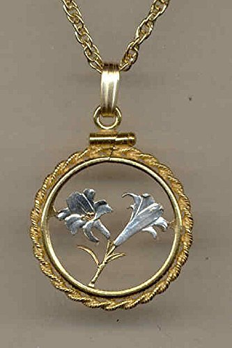 """Beautifully Hand Cut out & 2-toned Bermuda 10 cent """"Lily"""" , Coin Necklaces"""