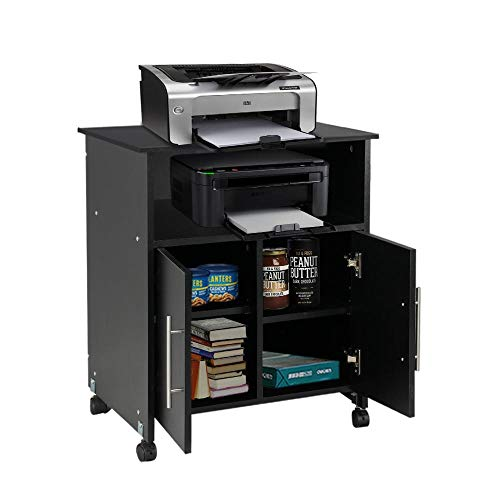 Yaheetech Collection Printer Stand, Mobile Work Cart Desk Storage Cupboard Home Office Furniture Black (Carts Kitchen Black Cabinet)