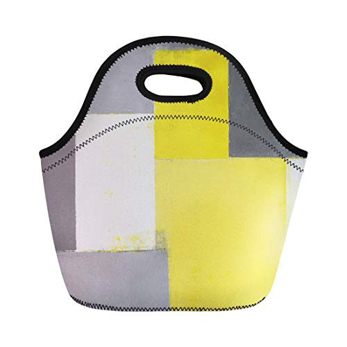 Semtomn Lunch Tote Bag Modern Grey and Yellow Abstract Painting Contemporary Gallery Home Reusable Neoprene Insulated Thermal Outdoor Picnic Lunchbox for Men Women