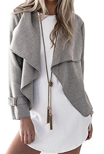 Pleated Trench - JXG-Women Double Breasted Solid Belted Pleated Trench Coat Gray US XS