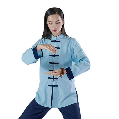 (KSUA Womens Martial Arts Uniform Tai Chi Suit Chinese Kung Fu Clothing Cotton Wing Chun Clothes Zen Meditation, Blue US M/Tag L)