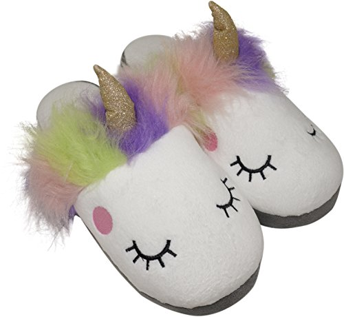 for Fuzzy 8 Posh Plush Cute Unicorn Fluffy Plush Women Womens Slippers 7 Peanut Shoe Ix0pqA