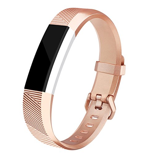 AK Fitbit Alta HR Bands, Newest Fitbit Alta HR Bands Replacement Wristband Straps with Secure Metal Buckle for Fitbit Alta HR/Fitbit Alta (Light rose gold, Small)