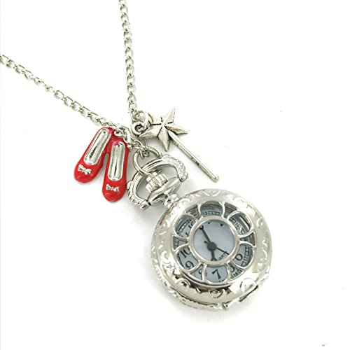 Wizard of Oz pocket watch. Ruby Slippers and Wand charms Necklace