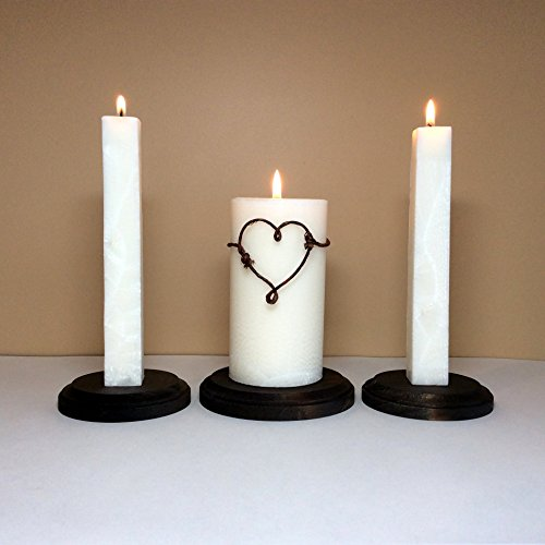 Rustic Unity Candle Set and Stand for Wedding Ceremony (Stand Candle Unity)