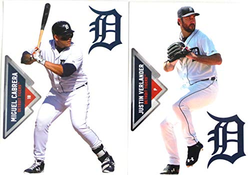 FATHEAD Detroit Tigers Mini Graphics 2 Players, Miguel Cabrera + Justin Verland + 2 Detroit Tigers Logo Official MLB Vinyl Wall Graphics - Each Player 7