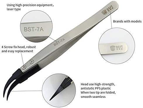Family Must-Have Repair Tool Compatible with Mobile Phone//Computer Repair BST-7A Curved Head Tweezers for Phone Convenient