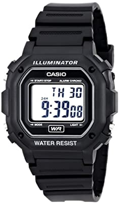 Casio Men's F108WH Illuminator Collection Black Resin Strap Digital Watch