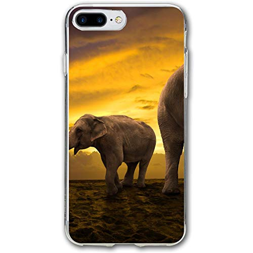 Walking Elephant and Baby in Sunset Resistant Cover Case Compatible iPhone 7 Plus iPhone 6 Plus 5.5IN]()