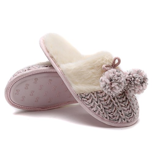 Fluffy Hicooer On Cozy Slipper Slip House Outdoor Women's Clog Pink Winter Soft Slippers Indoor for npqIap