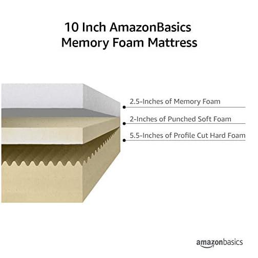 AmazonBasics 12-Inch Memory Foam Mattress – Soft Plush Feel, Twin
