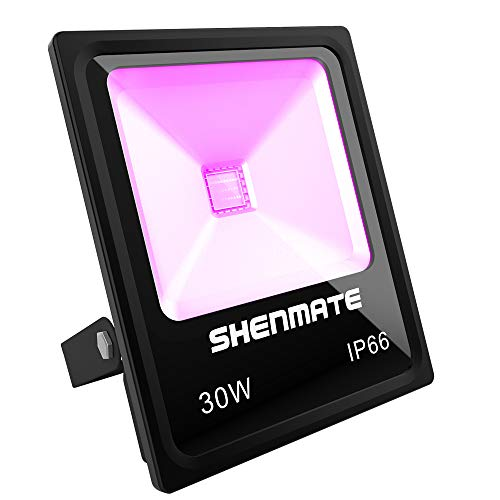 Outdoor Blacklight, SHENMATE 30W UV LED Flood Light, Ultra Violet Waterproof IP66 Flashlight for Bar DJ Birthday Party, Neon Glow in the Dark, Stage Lighting,Aquarium,Body Paint,Yard, Nightclub, Disco]()