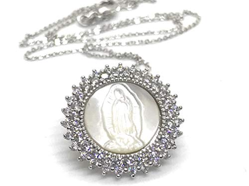 - Art & Designs by AA Silver Guadalupe Medal Necklace for Women 18' Religious Jewelry