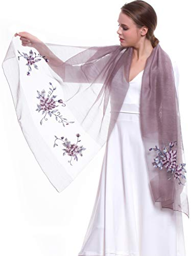 Scarf Shawl Silk New (MORCOE Women's Chinese Wool & Silk Joint Delicate Floral Embroidered Soft Long Scarf Light Wrap Party Shawl Gift (Purple))