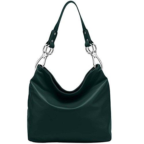 FASH Top Handle Soft Hobo Shopper Handbag,Dark Green,One Size
